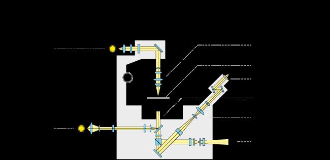 trajet optique d'un microscope inversé