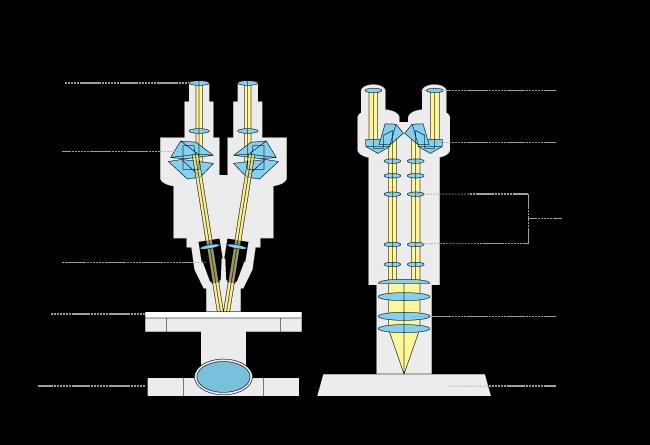 trajet optique d'un stéréo microscope